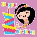 Cute mermaid is happy with birthday cake vector cartoon, Birthday postcard, wallpaper, and greeting card