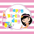 Cute mermaid, jelly fish and crab with birthday gift cartoon, Birthday postcard, wallpaper, and greeting card