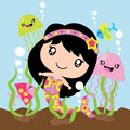 Cute mermaid, jelly fish and fishes in the sea cartoon, Kid nursery wall, wallpaper, and greeting card