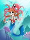 Cute mermaid with octopus Royalty Free Stock Photos