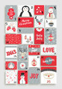 Cute Merry Christmas advent calendar for holiday Royalty Free Stock Photo
