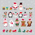Cute of merry christmas and happy new year elements with flat color design Royalty Free Stock Photo