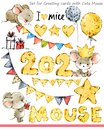 Cute mice illustration. Funny cartoon mouse. background for winter holidays Royalty Free Stock Photo