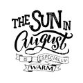 Cute minimalistic name of month - august. Hand written summer lettering on isolated background.