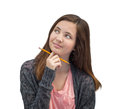 Cute Mixed Race Teen Girl Thinking with Pencil Royalty Free Stock Photo