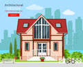 Cute modern private house facade design with trees and city skyline background. Stylish detailed building exterior. Royalty Free Stock Photo