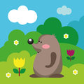 Cute mole vector illustration of in the green garden wildlife Stock Photos