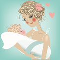 Cute mom with child card for the mother s day Royalty Free Stock Photography