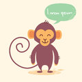 Cute Monkey Cartoon Chat Bubble Drawing Royalty Free Stock Photo