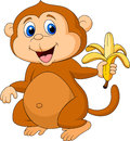 Cute monkey cartoon eating banana illustration of Royalty Free Stock Images