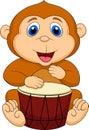 Cute monkey cartoon playing drum