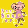 Cute monkey girl with banana skateboard  cartoon illustration for kid t shirt design Royalty Free Stock Photo