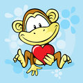 Cute monkey with heart on blue abstract background Stock Image