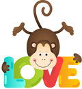 Cute monkey with love text Royalty Free Stock Photo