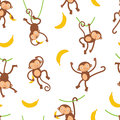 Cute monkeys pattern Royalty Free Stock Photography