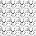 Cute monochrome Cats. Cartoon vector seamless pattern.