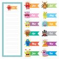 Cute Monster diary memo card