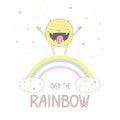Cute monster jumpimg on the rainbow