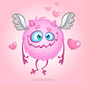 Cute monster in love. Illustration for St Valentine's Day. Vector