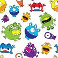 Cute monster seamless pattern colorful vector illustration Stock Image