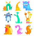 Cute Monsters and Aliens. Colourful Set Royalty Free Stock Photo