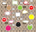 Cute monsters on a brick wall vector art Stock Image