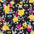 Cute monsters cats and money seamless pattern vector colorful texture with cyclops for you background Royalty Free Stock Images