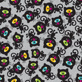 Cute monsters cats seamless pattern vector colorful texture with cyclops for you background Stock Photo