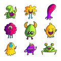 Cute monsters color hand drawn characters set