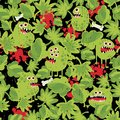 Cute monsters in the grass seamless pattern vector texture Stock Photography