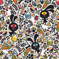 Cute monsters rabbit seamless pattern vector colorful texture for you background Royalty Free Stock Photos