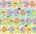 Cute monsters seamless background with stars vector pattern space aliens Royalty Free Stock Photos