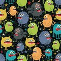 Cute monsters seamless texture with stars vector pattern space aliens Stock Photos