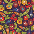 Cute monsters seamless texture vector pattern with vegetables Stock Photo