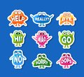 Cute Monsters Stickers Set, Funny Emoji Characters with Words In Their Mouths Vector Illustration,