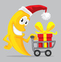 Cute moon in santa hat with shopping cart Royalty Free Stock Image
