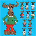 Cute moose cartoon in jeans and ten little mooses with numbers on t shirts Stock Photography