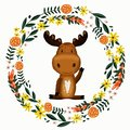 Cute moose and flower wreath