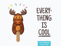 Cute moose popsicle illustration. Vector ice cream Royalty Free Stock Photo