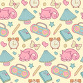 Sweet Home vector seamless pattern. Set of vector design home elements, cute cat, cups of coffee, cake, alarm clocks etc