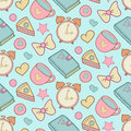 Cute morning vector seamless pattern with cake, heart, cup, notebook and alarm clock. Home elements background. Royalty Free Stock Photo