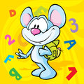 Cute mouse cartoon illustration with school bag on the back Royalty Free Stock Images