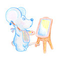 Cute mouse with easel and brush hand-drawn illustration. School lesson of arts.