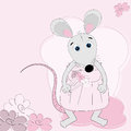 Cute mouse girl with flowers Royalty Free Stock Photography
