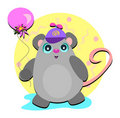 Cute Mouse with Hat and Balloon Stock Photography