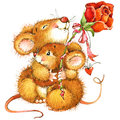 Cute Mouse With Rose. Watercol...