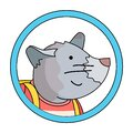 Cute mouse with school bag vector cartoon illustration in circle frame. Primary school concept Royalty Free Stock Photo