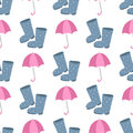 Cute multi colored umbrella rubber boots in flat design style and autumn accessory concept fashion sign vector Royalty Free Stock Photo