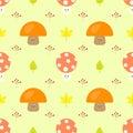 Cute Mushroom Cartoon Seamless Vector Pattern