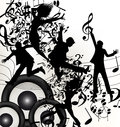Cute music background young jumping happy people enjoy music Stock Images